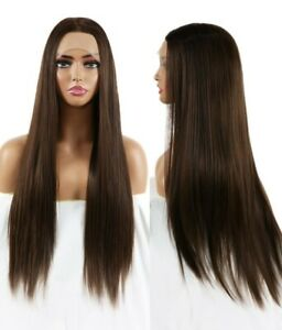 US 24inch Synthetic hair Lace front wigs Brown Natural Straight Women