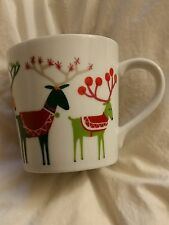 Reindeer mug Crate and Barrel Jenny Bowers Sled Gifts Cup Holiday 2014 New