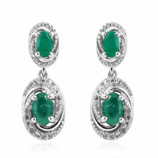 Natural Emerald Earrings in Platinum Over Sterling Silver 1.57 ctw