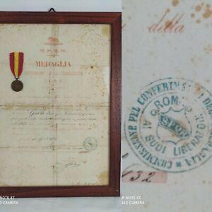 Medaglia Attestato Risorgimento Benemeriti Liberazione Roma Regio Valor militare