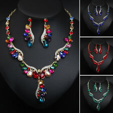 Bridal Party Women Jewelry Set Crystal Necklace Earring Statement Choker Fashion