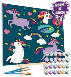 Splat Planet Unicorn Paint By Numbers - Large Giant Framed Canvas Art Set