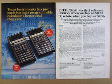 1977 TI Texas Instruments SR 52 56 Programmable Calculators vintage print Ad