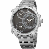 Men's Joshua & Sons JX128SSB Triple Time Zone Stainless Steel Bracelet Watch