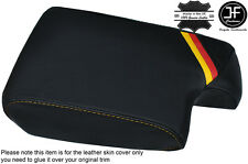 GERMAN STRIPES YELLOW STITCH LEATHER ARMREST COVER FITS BMW 3 SERIES E36 92-99
