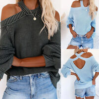 ❤️ Womens Cold Shoulder Sweatershirt Long Sleeve Casual Loose Jumper Tops Blouse