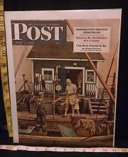 Rare Orig VTG 1949 Saturday Evening Post Dohanos Lobsters Cover Only Art Print