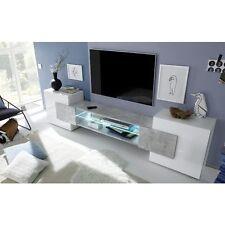 Incastro mobile porta tv basso living bianco lucido e cemento