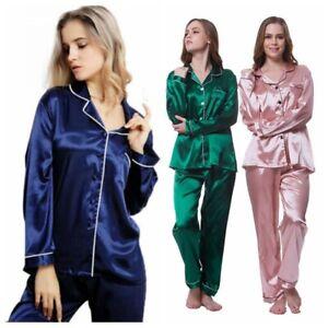 Women Pajamas 2 Pieces Satin Sleepwear Pijama Silk Home Wear Sleep Autumn Pjs