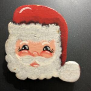 Santa Claus Brooch Pin Head Face Painted Eyelashes Round