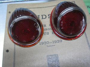 NOS 1938 1939 Hudson Tail Light Lens set 3Cpe VicCpe Convertibles 129056 129057