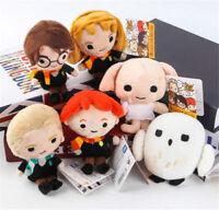 "6pc Harry Potter Hermione Ron Malfoy Dobby Hedwig Owl Beans 4-5"" Plush FigureToy"