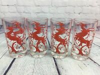 "4 Red Gazelle Antelope Glass Tumblers Vintage Retro - 5"" Tall / Deer Drinking"