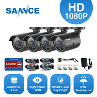 SANNCE 4x1080P In/Outdoor IR Day Night HD 2MP Bullet CCTV Security Camera System