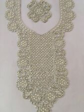 Diamante Silver Stunning Bead Neckline Gala Neck Collar Applique Patch Sew On