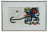 1970s Joan Miro Framed Abstract Modern Owl Lithograph MCM COA Surealism 30""