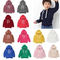 Kids Baby Boys/Girls Solid Hoodie Sweatshirt Pullover Jumper Hooded Coat Tops