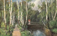 CH18.Vintage Postcard. Lady walking across a bridge in the woods.