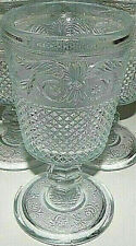 KIG- 1* Diamond Point Scroll- American Provincial Sandwich Pressed Glass Goblet