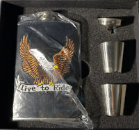 Live To Ride Flask Stainless Steel 8 OZ Gift Set 2- Metal Shot Glasses Black Box