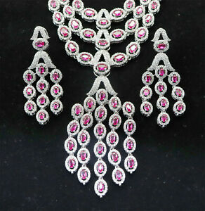 CUBIC Zirconia Exclusive RED Ruby Necklace Earring Set 120 RN 7