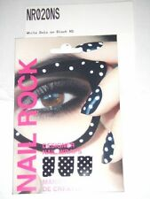 NAIL ROCK Designer Nail Wraps - NR020NS - White Dots on Black - Made in UK- NEW