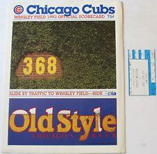 1993 Chicago Cubs vs. Houston Astros Scorecard w/Ticket Bagwell Sandberg Grace