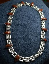 """Sterling Silver Scrap/Not ~146 grams Brown Marbled Stones Choker Necklace 16.5"""""""