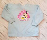 Disney Store Girls Size Med 7/8 Minnie Mouse Blue Hooded Sweatshirt Hoodie