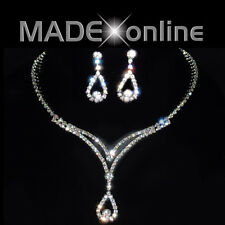 Necklace Set U, Silver Plated Diamante Sparkly Bling