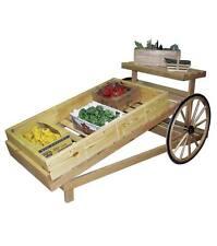 Produce Slanted Cart Wood Display with Real Wagon Wheel Natural Wood