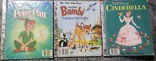 Little Golden Book Disney Lot CINDERELLA PETER PAN BAMBI Friends of the Forest