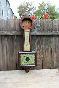 antique American weight driven banjo wall clock case