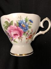 VINTAGE QUEEN ANNE FINE BONE CHINA FOOTED TEA CUP - Morning Glory Daisy -ENGLAND