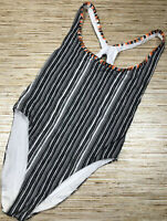 G-53 RED CARTER Print One-Piece Racerback Swimsuit BLACK WHITE Sz S $185