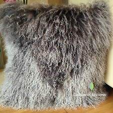 GREY WHITE MIXED 40x40CM GENUINE MONGOLIAN SHEEPSKIN LAMB WOOL FUR CUSHION COVER