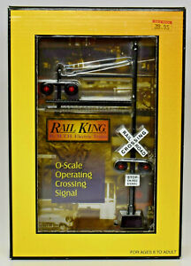 MTH RAILKING O SCALE OPERATING CROSSING SIGNAL 30-11010 NEW IN BOX MSRP $50