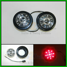 """(2) CLEAR LENS / RED 13 LED Light Trailer 2-1/2"""" round,Clearance marker 2.5"""""""