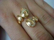 18K ROSE GOLD & DIAMONDS HANDMADE DESIGNER BYPASS RING, 8.2 GRAMS, FIT SIZE 6-7