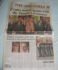 THE TIMES 1 SEPT 1997 LADY DIANA COMES HOME VGC