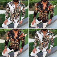 Men Formal Party Long Sleeve Tops Button Down Floral Blouse Plus Size Tee Shirts