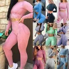Women Seamless Yoga Suit Crop Top/Pants Leggings Sport Fitness Gym Set Tracksuit