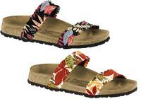 BIRKENSTOCK PAPILLIO CURACAO FLOWER FRILL BROWN BLACK STRETCH CIABATTE SANDALS