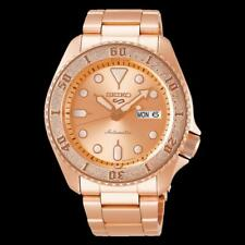 NEW Seiko 5 Sports 100M Automatic Men's Watch All Rose Gold Plated SRPE72K1