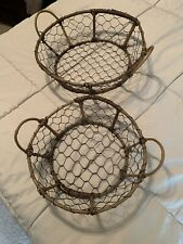 Wire Basket With Handles Set Of Two