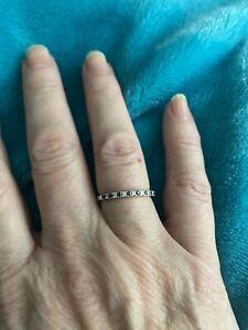 micro pave diamond and blue sapphire ring