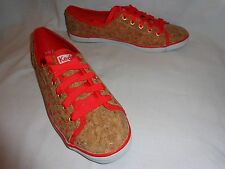 "NWOB--COOL UNIQUE KEDS ""RALLEY"" TAN CORK WITH RED-ORANGE DOT SNEAKERS SHOES--8.5"