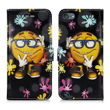 Apple iPod Touch 5 5th & Touch 6 6th Generation Leather Wallet Phone Case Cover Keep Smiling - Shades Cool Paint Colourful Relax