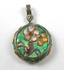 Vintage Enamel Cloisonne Charm Pendant Flower Disc Round