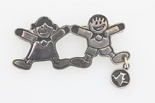 Holding Hands Mexico 925 Brooch Pin Efs Save The Children Boy and Girl